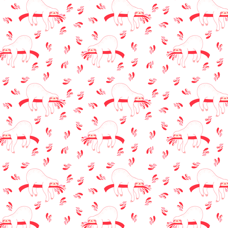 "3"" Waiting For The Weekend Sloth - Pink fabric by rebelmod on Spoonflower - custom fabric"
