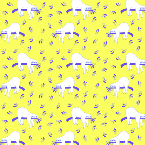 """3"""" Waiting For The Weekend Sloth - Neon Yellow fabric by rebelmod on Spoonflower - custom fabric"""