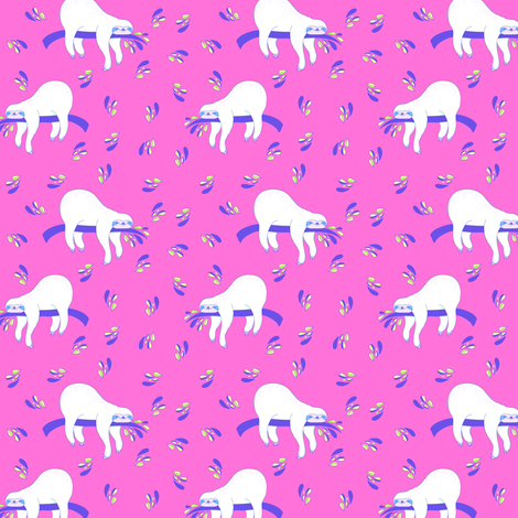 """3"""" Waiting For The Weekend Sloth - Neon Pink fabric by rebelmod on Spoonflower - custom fabric"""