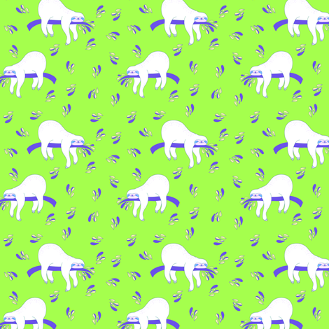 """3"""" Waiting For The Weekend Sloth - Neon Green fabric by rebelmod on Spoonflower - custom fabric"""