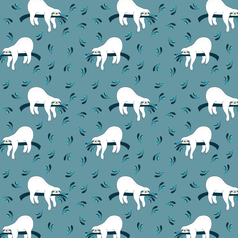 "3"" Waiting For The Weekend Sloth - Aqua Bright Blue fabric by rebelmod on Spoonflower - custom fabric"