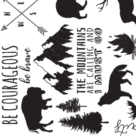 90 In the Wild // Black and White fabric by hipkiddesigns on Spoonflower - custom fabric