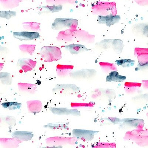 Watercolor brush strokes and spatters