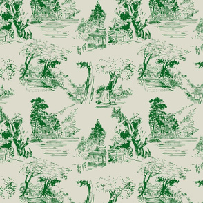 asian toile green