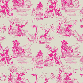 asian toile pink