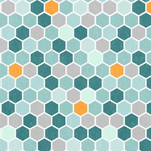Light Texture Geometric Dots Hexagon Hexie Tangerine Orange Teal Mint Blue Honeycomb Grunge  || Miss Chiff Designs