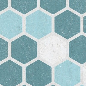 Texture Geometric Hexie || Grunge Teal Blue Gray || Spots dots Hexagon Honeycomb