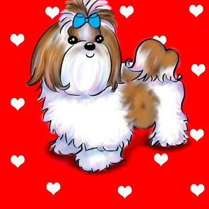 Shih Tzu love red L