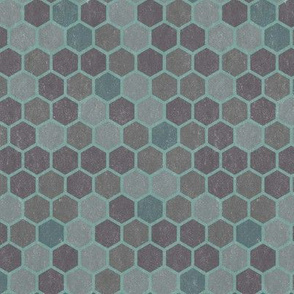Blue Gray Green Textured Hexagon _ Miss Chiff Designs