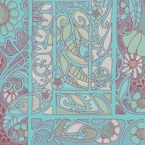 Nouveau Paisley Flower Blues