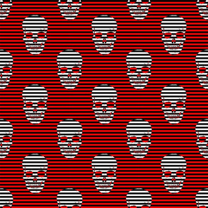 striped skulls red and white small