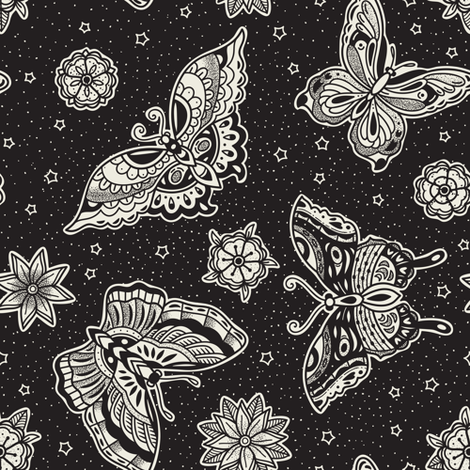 Black and white vintage tattoo fabric by penguinhouse on Spoonflower - custom fabric