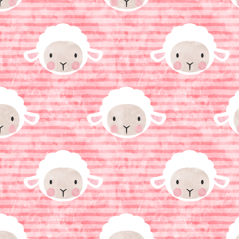 little lamb - pink fabric by littlearrowdesign on Spoonflower - custom fabric