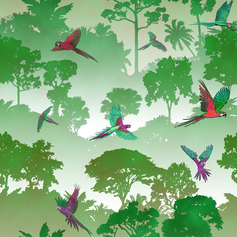 Macaw Canopy - Green // Small fabric by thinlinetextiles on Spoonflower - custom fabric