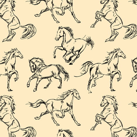 Horse Sketches // Tan fabric by thinlinetextiles on Spoonflower - custom fabric
