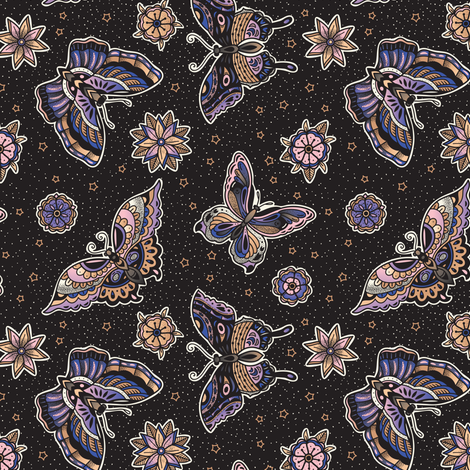 Vintage butterfly tattoo fabric by penguinhouse on Spoonflower - custom fabric