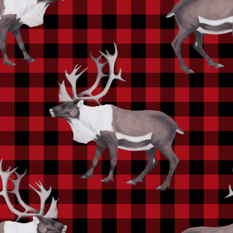 Arctic Reindeer Caribou Plaid fabric by linda_baysinger_peck on Spoonflower - custom fabric