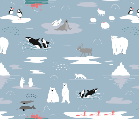 Arctic animals fabric by motifunique on Spoonflower - custom fabric