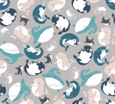 Aquatic arctic animals (sand and blue)