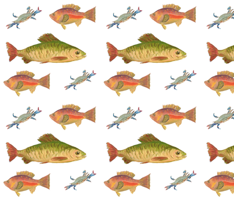 Heathers Fish on white fabric by erica_lindberg_designs on Spoonflower - custom fabric