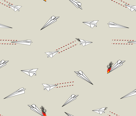 paper airplane dog fighters on tan fabric by b0rwear on Spoonflower - custom fabric