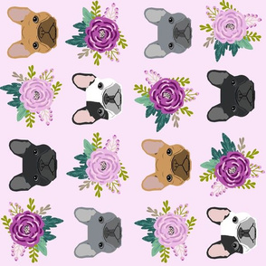 french bulldog fabric (XLarge RR) purple lavender pastel purple frenchie dogs and florals fabric