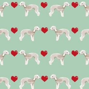 bedlington terrier love hearts dog breed pet fabric mint