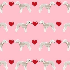 bedlington terrier love hearts dog breed pet fabric pink
