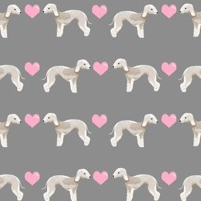 bedlington terrier love hearts dog breed pet fabric grey