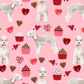 bedlington terrier valentines cupcakes love hearts dogs fabric pink