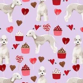 bedlington terrier valentines cupcakes love hearts dogs fabric purple