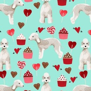 bedlington terrier valentines cupcakes love hearts dogs fabric mint
