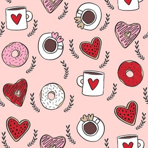 valentines coffee // donuts and coffee fabric breakfast cafe foodie blush