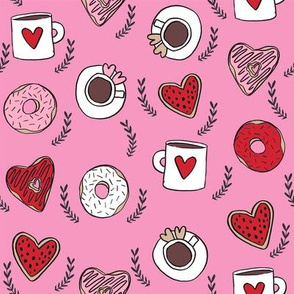 valentines coffee // donuts and coffee fabric breakfast cafe foodie pink