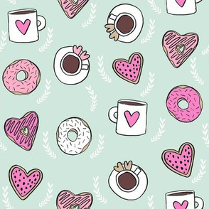 valentines coffee // donuts and coffee fabric breakfast cafe foodie mint