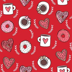 valentines coffee // donuts and coffee fabric breakfast cafe foodie red