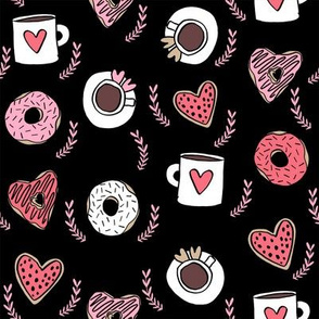 valentines coffee // donuts and coffee fabric breakfast cafe foodie black red