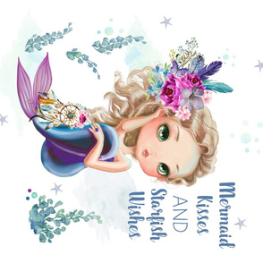 """18""""x21"""" Lilac Mermaid Quote / 4 to 1 yard of any 42"""" wide fabric only"""