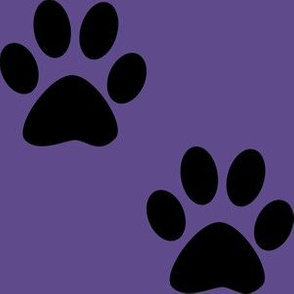 Three Inch Black Paws on Ultra Violet Purple