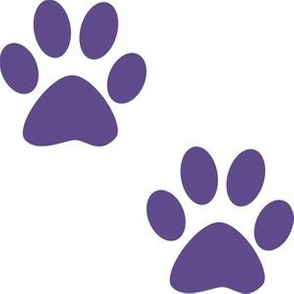 Three Inch Ultra Violet Purple Paws on White