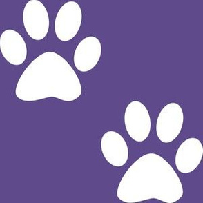Three Inch White Paws on Ultra Violet Purple