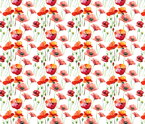Coral Poppies fabric by hipkiddesigns on Spoonflower - custom fabric