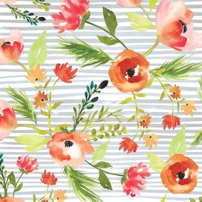 Spring Watercolor Floral on Stripes