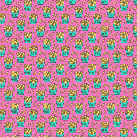 French Fries Fast Food Green Mint on Pink Tiny Small fabric by caja_design on Spoonflower - custom fabric