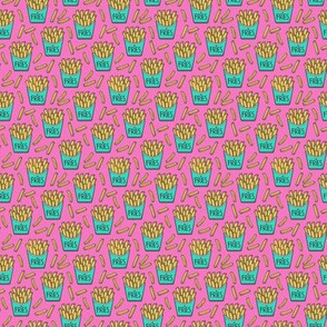French Fries Fast Food Green Mint on Pink Tiny Small