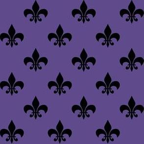 One Inch Black Fleur-de-lis on Ultra Violet Purple