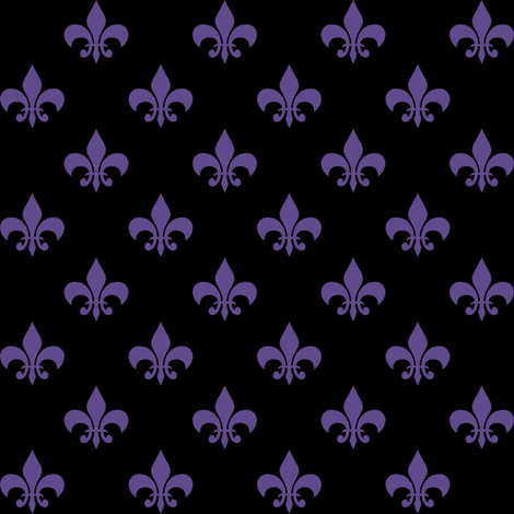 One Inch Ultra Violet Purple Fleur-de-lis on Black fabric by mtothefifthpower on Spoonflower - custom fabric