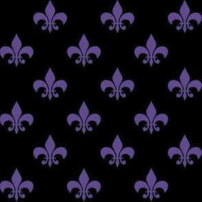 One Inch Ultra Violet Purple Fleur-de-lis on Black