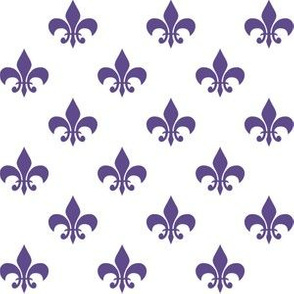 One Inch Ultra Violet Purple Fleur-de-lis on White