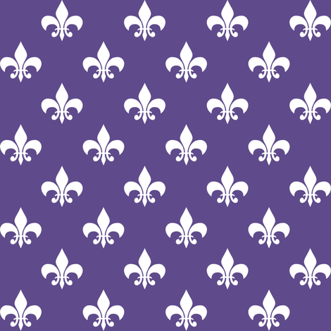 One Inch White Fleur-de-lis on Ultra Violet Purple fabric by mtothefifthpower on Spoonflower - custom fabric